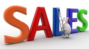 3d rabbit with sales text concept Stock Image