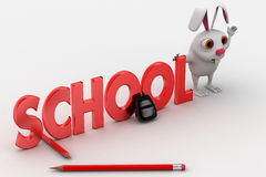 3d rabbit with school text and bag and pencils concept Royalty Free Stock Images