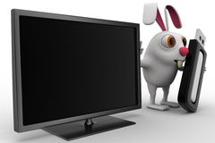 3d rabbit with screen and usb pendrive concept Stock Photos