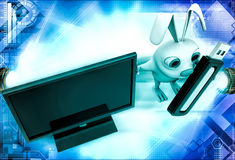 3d rabbit with screen and usb pendrive illustration Stock Image