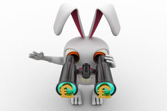 3d rabbit searching for  euro using binocular concept Royalty Free Stock Photos