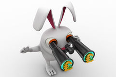 3d rabbit searching for  euro using binocular concept Stock Photography