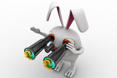 3d rabbit searching for  euro using binocular concept Royalty Free Stock Images