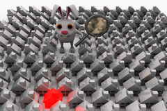 3d rabbit searching for home using magnifier concept Stock Image