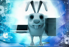 3d rabbit with server computer and laptop illustration Stock Image