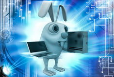 3d rabbit with server computer and laptop illustration Royalty Free Stock Images