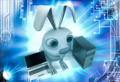 3d rabbit with server computer and laptop illustration Stock Photos