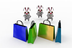 3d rabbit shopping concept Stock Images