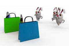 3d rabbit shopping concept Royalty Free Stock Image
