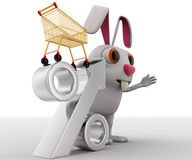 3d rabbit show discount on shopping with cart and silver percentage symbol concept Royalty Free Stock Photo