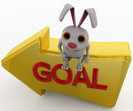 3d rabbit showing goal path concept Royalty Free Stock Photography