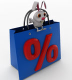 3d rabbit showing percentage bag concept Royalty Free Stock Photography
