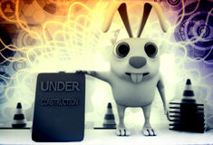 3d rabbit showing site under construction illustration Royalty Free Stock Photo