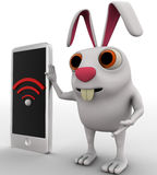 3d rabbit shows wireless symbol on phone concept Stock Image