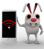 3d rabbit shows wireless symbol on phone concept Stock Images