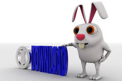 3d rabbit with silvet download symbol and blue download text concept Royalty Free Stock Image