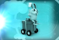 3d rabbit sitting on box rolling on wheels illustration Stock Images