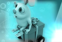 3d rabbit sitting on box rolling on wheels illustration Royalty Free Stock Images