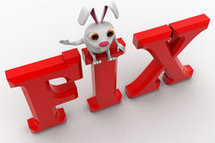 3d rabbit sitting  on fix concept Stock Photos