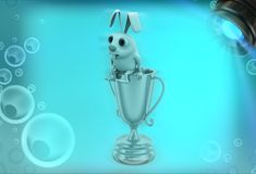 3d rabbit sitting on golden prize cup illustration Stock Photo
