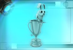 3d rabbit sitting on golden prize cup illustration Royalty Free Stock Photo