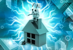3d rabbit sitting house illustration Royalty Free Stock Images