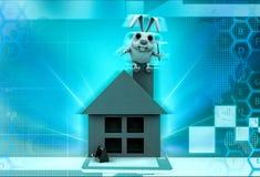 3d rabbit sitting house illustration Royalty Free Stock Image