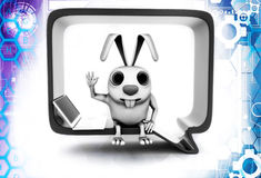 3d rabbit sitting inside chat bubble illustration Stock Photography