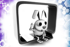 3d rabbit sitting inside chat bubble illustration Royalty Free Stock Images
