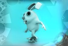 3d rabbit sketting illustration Royalty Free Stock Image