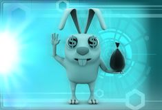 3d rabbit with small bag of money illustration Royalty Free Stock Image