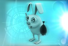 3d rabbit with small bag of money illustration Royalty Free Stock Photo