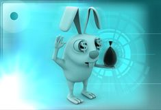3d rabbit with small bag of money illustration Royalty Free Stock Images