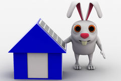 3d rabbit with small house with solar panel concept Stock Photos