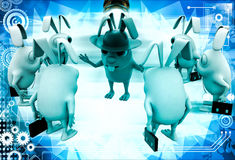 3d rabbit smart boss giving instruction to employees illustration Stock Images