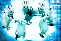 3d rabbit smart boss giving instruction to employees illustration Stock Image