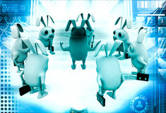 3d rabbit smart boss giving instruction to employees illustration Royalty Free Stock Image