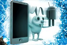 3d rabbit with smartphone and android icon illustration Stock Image