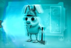 3d rabbit with snow axe illustration Royalty Free Stock Image