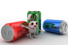 3d rabbit with soda cane concept Royalty Free Stock Image