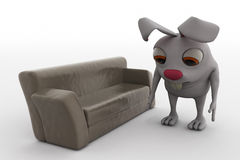3d rabbit on sofa concept Stock Image