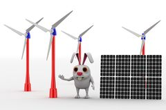 3d rabbit with solar cells and windmills so represent clean engergy concept Royalty Free Stock Photos