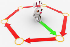 3d rabbit solving loop of arrow concept Royalty Free Stock Image