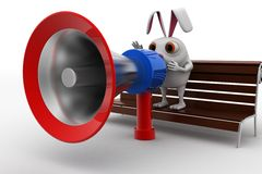 3d rabbit speak in speaker and sitting on bench concept Royalty Free Stock Images