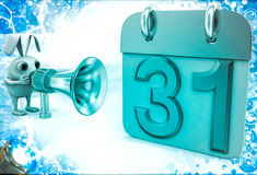 3d rabbit with speaker near calender shape milestone with 31 date Stock Image
