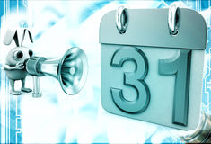 3d rabbit with speaker near calender shape milestone with 31 date Royalty Free Stock Images