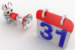 3d rabbit with speaker near calender shape milestone with 31 date Royalty Free Stock Photo