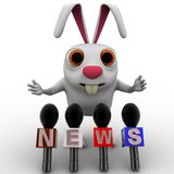 3d rabbit speaking in press conference concept Royalty Free Stock Image