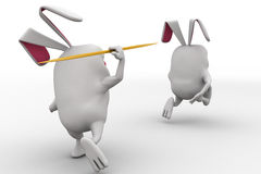 3d rabbit through spear on other rabbit concept Stock Photography