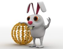 3d rabbit with sphere of golden dollar symbol concept Stock Photography